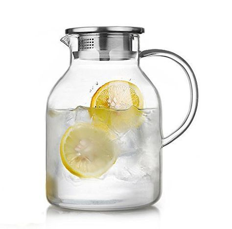 68 Ounces Glass Pitcher With Lid Water Jug For Hot Cold Water