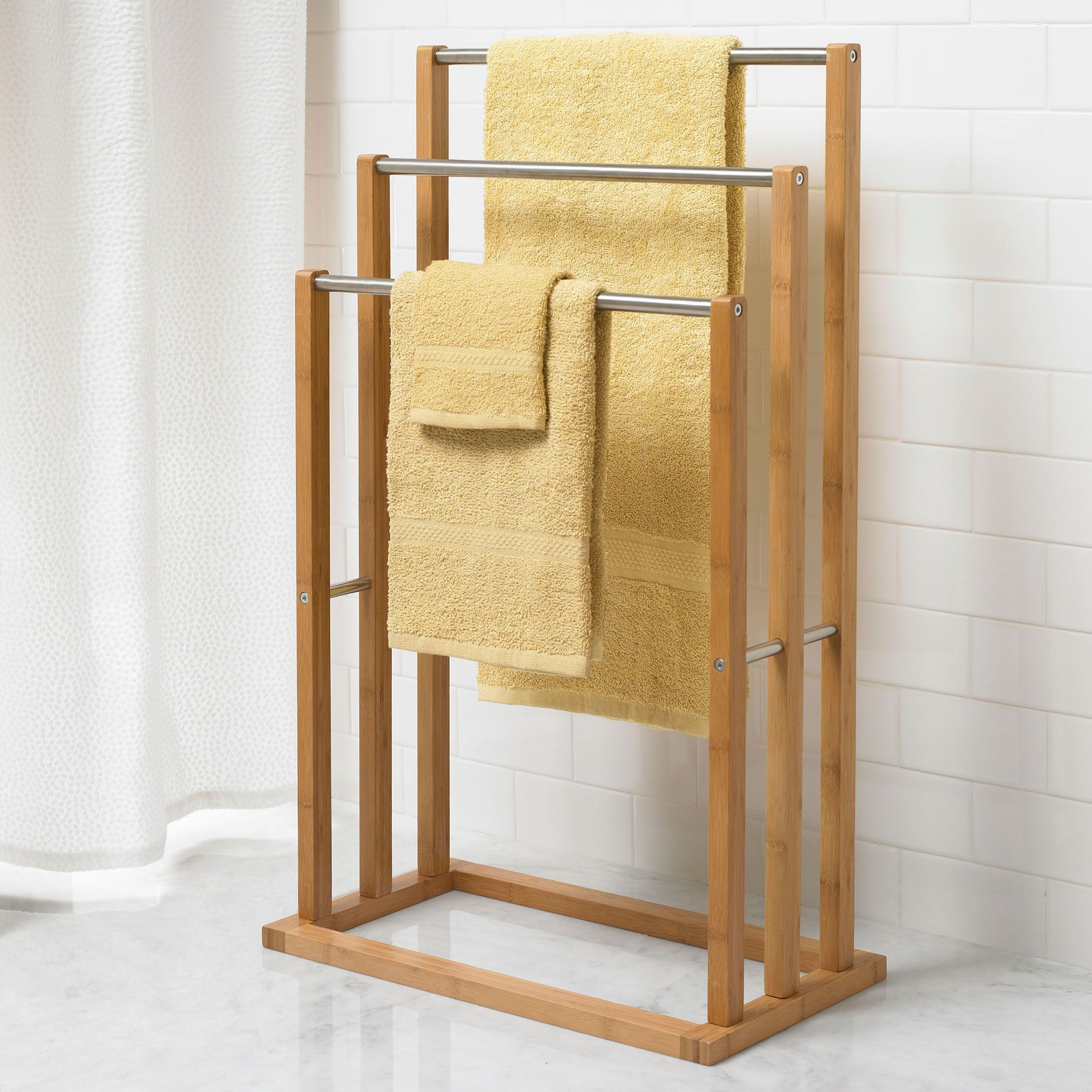 Bamboo 3 Tier Towel Rack Shower Curtains Accessories