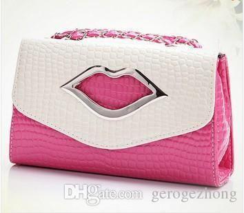 mODE d'appel d'OFFRES de livraison gratuite 2014 célèbre lèvres des femmes en cuir des sacs à main à bandoulière