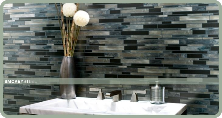Smokey Steel Glass Tile Installation