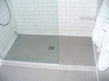Penny Tile Shower Floor But Black Possibly With A Dark Gray