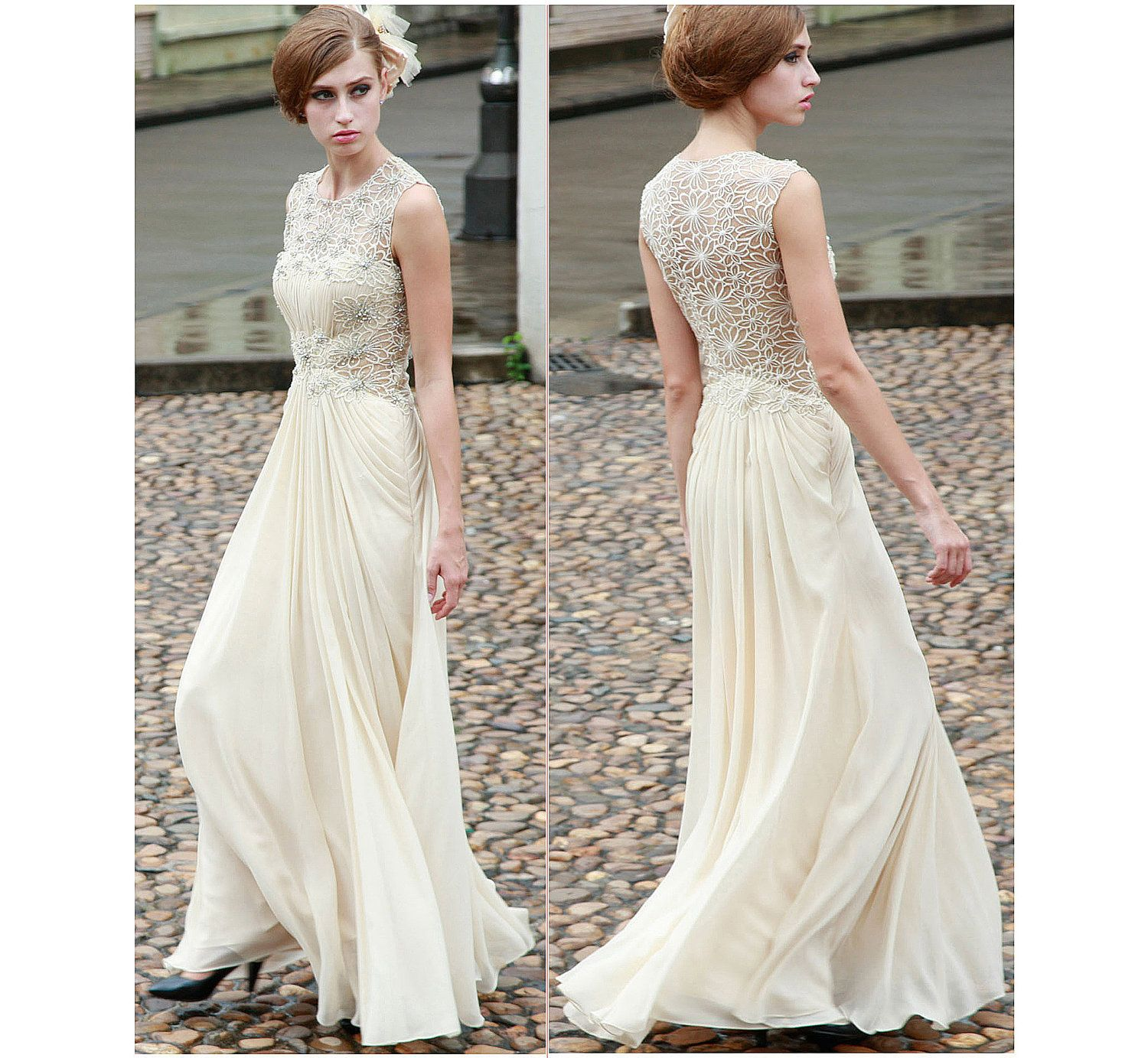 Evening Gowns For Wedding Reception: Cream Champagne Ivory Lace Sequin Rhinestone Chiffon Gown