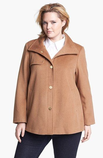 838b7c987f34a Ellen Tracy Wing Collar A-Line Wool Blend Coat (Plus Size) available at   Nordstrom