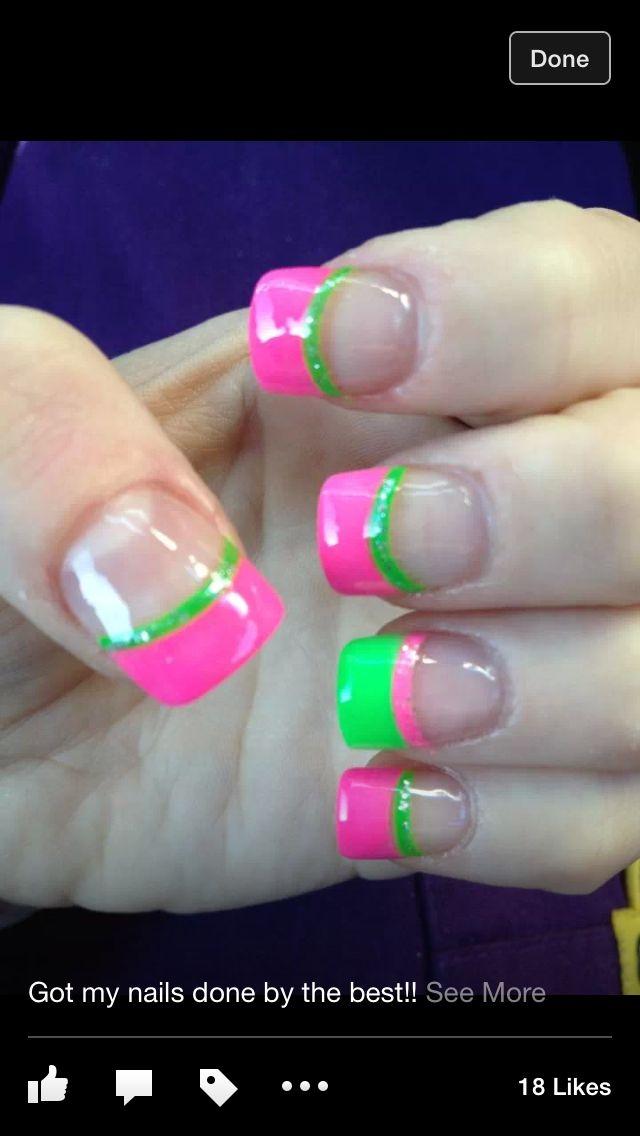 Nail Art - Pink and green nails watermellon, fun - Pink And Green Nails :) Nails I <3 Pinterest Green Nail