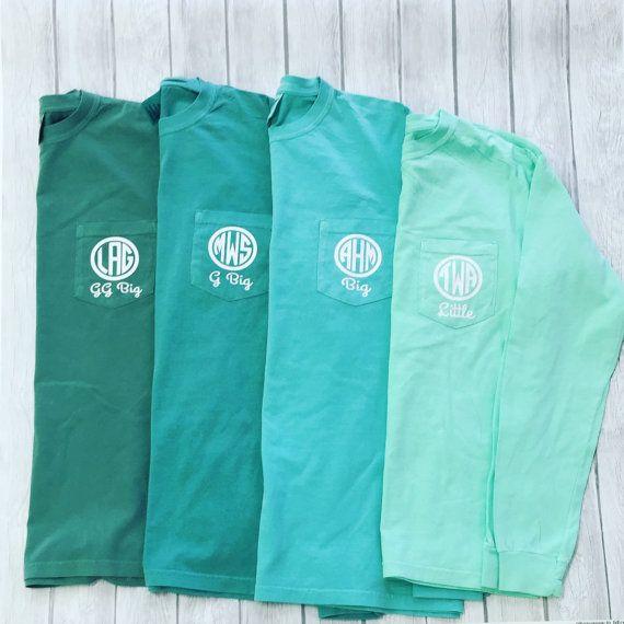 Sorority Big Little T-shirts, Greek Big Little Tshirts, Monogrammed Big Little Tees, Comfort Color Greek Big Little Monogrammed Long Sleeve