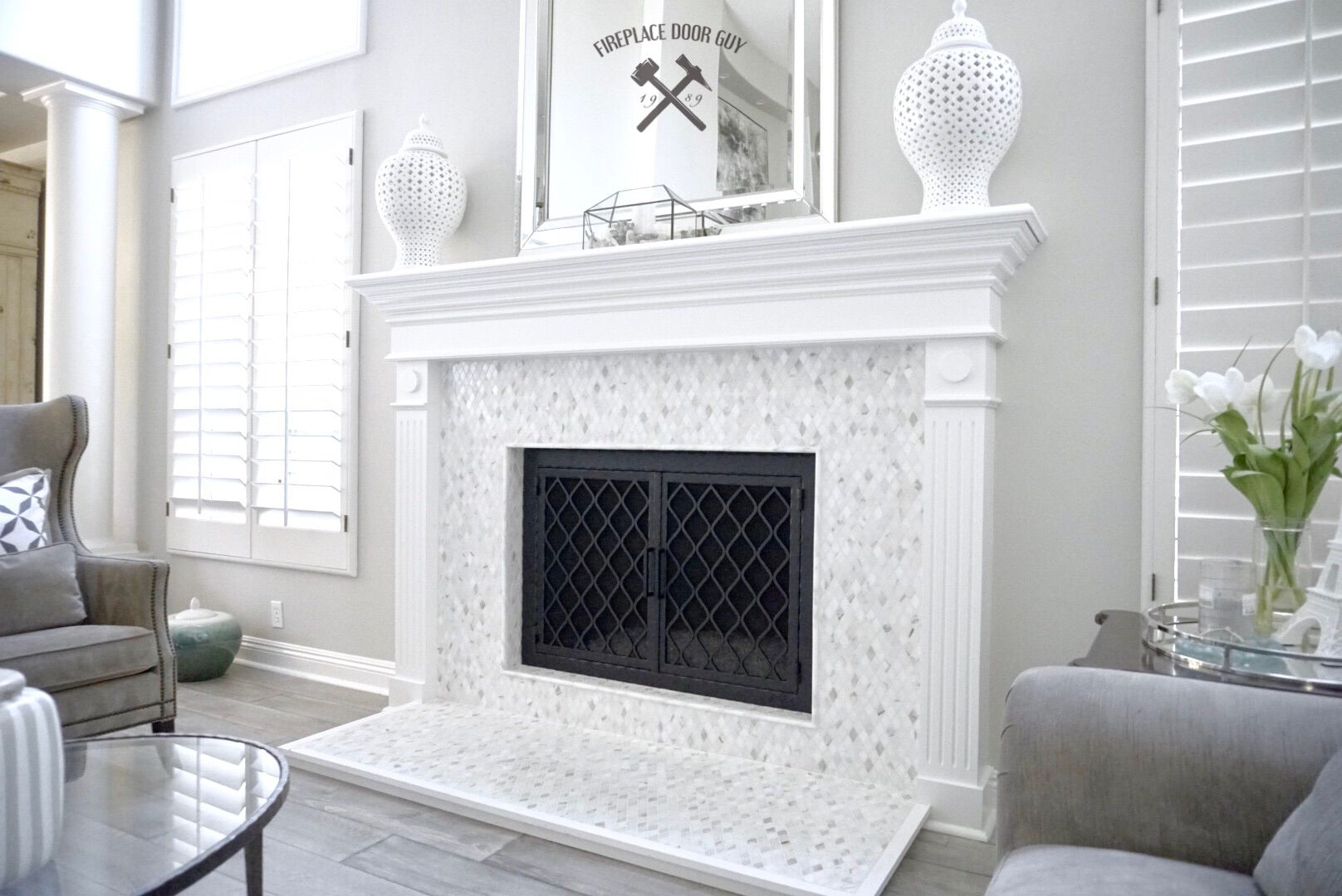 Fireplace Door Guy Finished Off This All White Remodel With Our Diamond Pattern Custom Screen Irondecor Homegoods Homedecor
