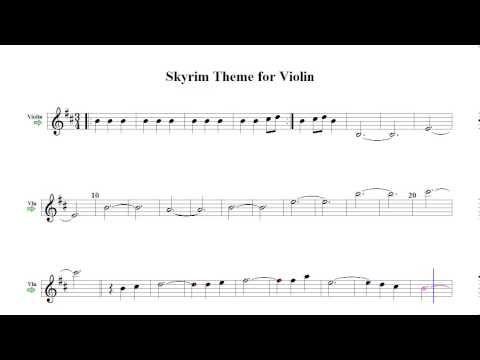 Skyrim Theme For Violin Sheet Music Youtube Sheet Music