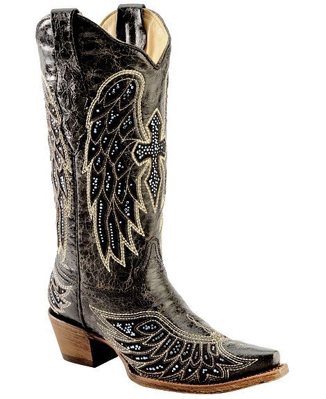 Sparkly Cowboy Boots | Corral Rhinestone Embellished Cross & Wing ...