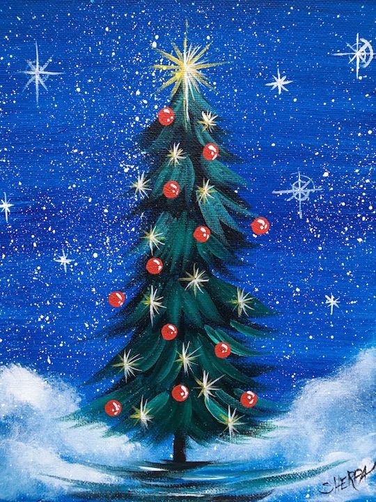 Lone Christmas Tree Easy acrylic painting on Canvas Free