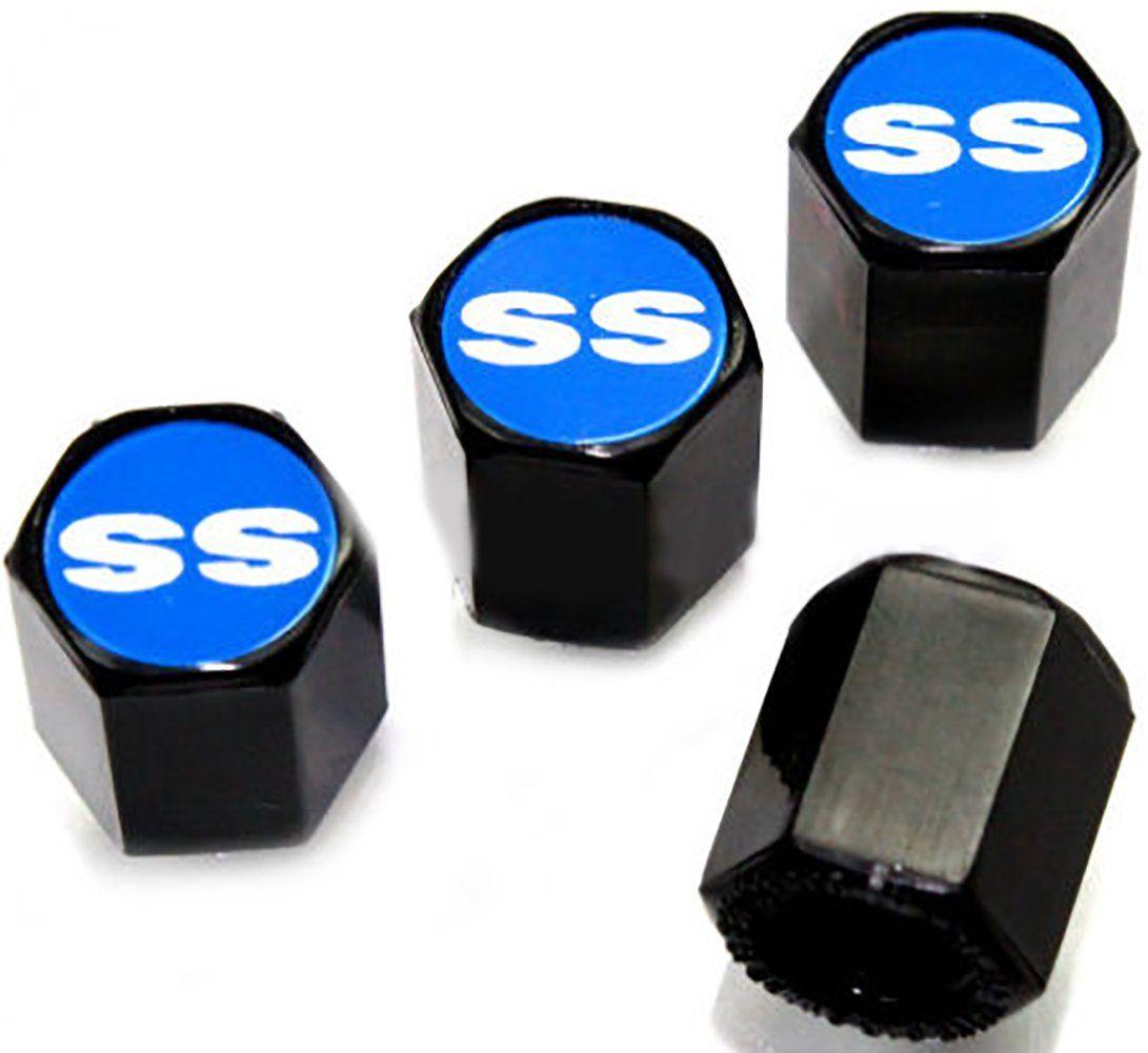 Chevrolet SS Logo Black Tire Stem Valve Caps