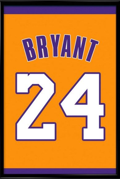 half off 2d537 03c62 Kobe Bryant Number 24 Los Angeles Lakers Jersey Art Print ...