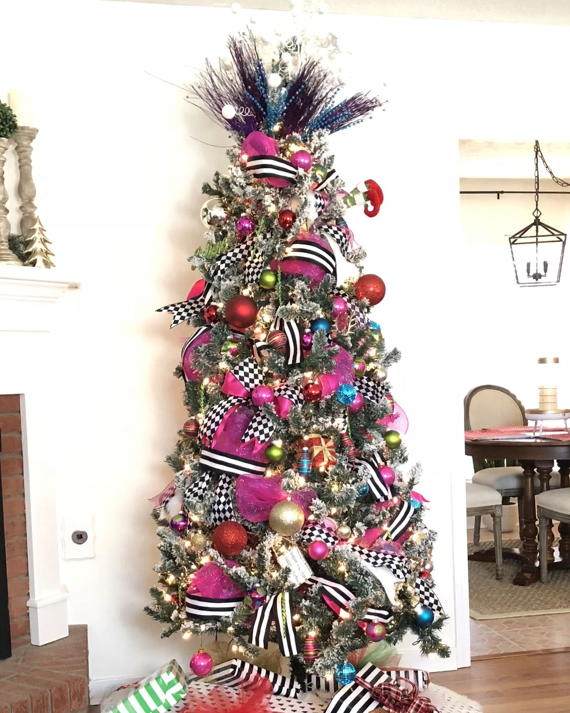 Black and White Striped Christmas Tree - Mary Anna