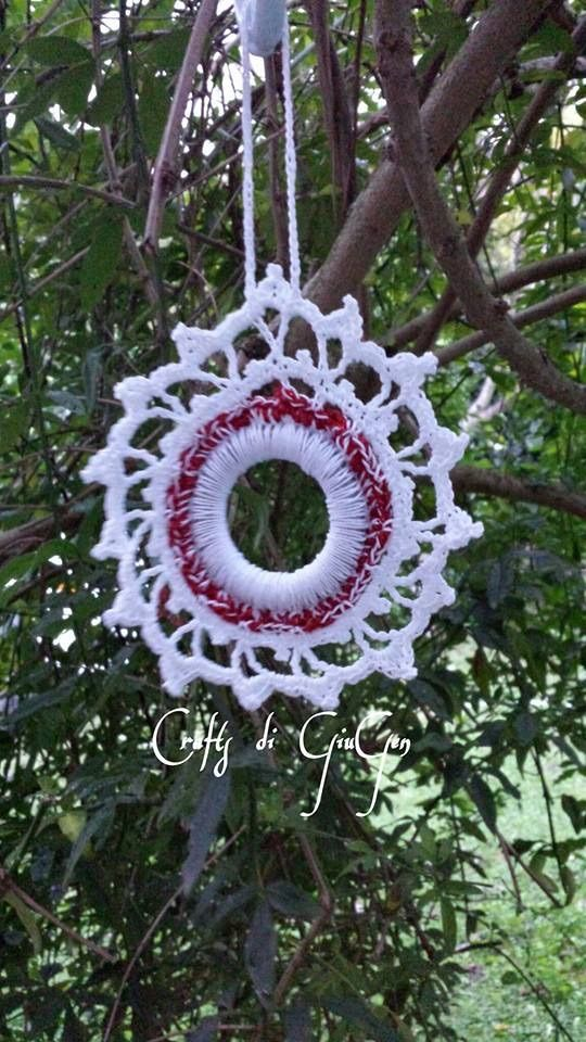 Mini ghirlande natalizi all'uncinetto fon schema.  Mini Christmas wreath with pattern in Italian + graph.