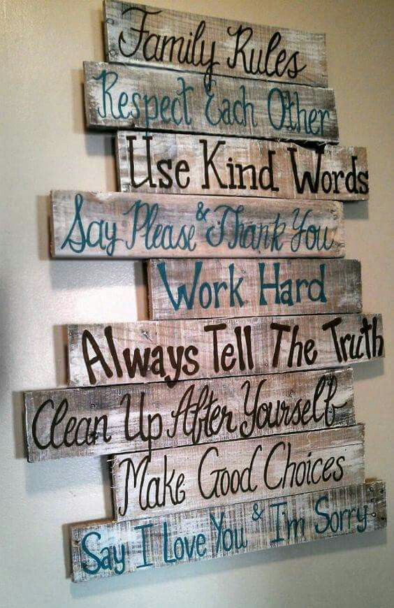Family Rules Pallet Sign