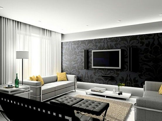 Living Room Design.  Love the texture on the accent wall.