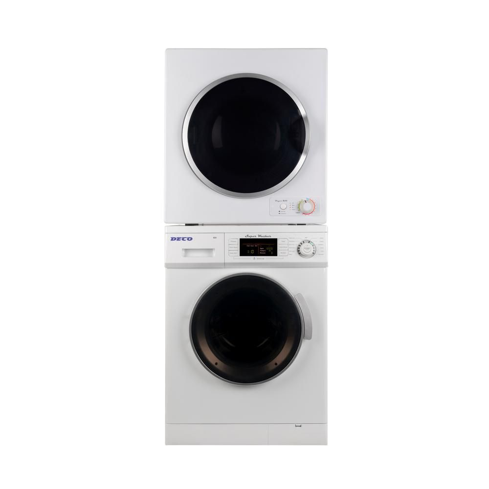 Deco Super Washer And Electric Dryer In White In Stainless Steel