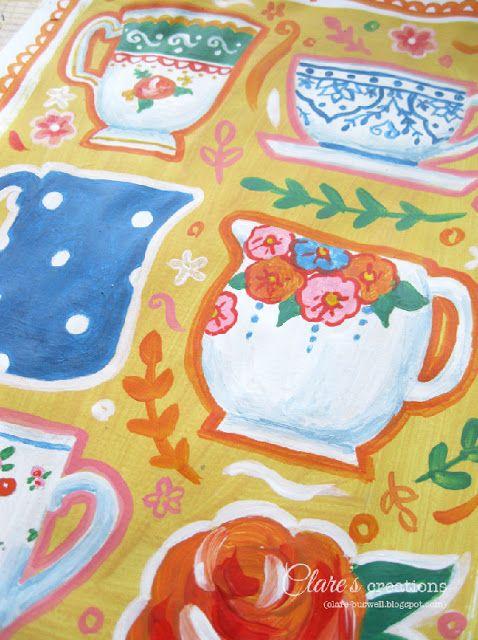 Time for tea! Time for tea! #illustration, #tea, #teatime, #teacups, #mugs, #painting, #acrylics, #design.