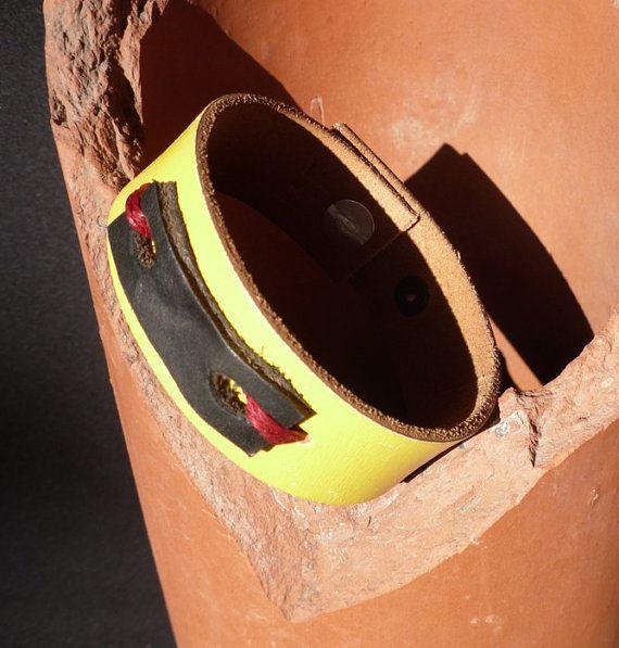 FloralHandmade Upcycled Leather Cuff by marysantiquesandart, $10.00