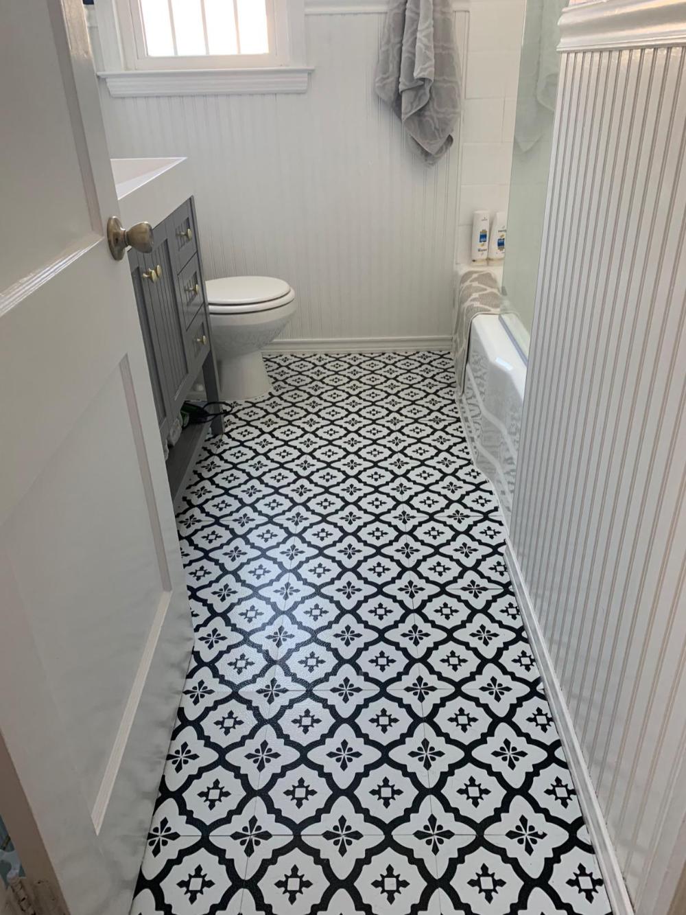 Floorpops Fp2480 Comet Peel Stick Tiles Floor Decal Black Amazon Com Basement Bathroom Remodeling Guest Bathroom Remodel Small Bathroom Makeover