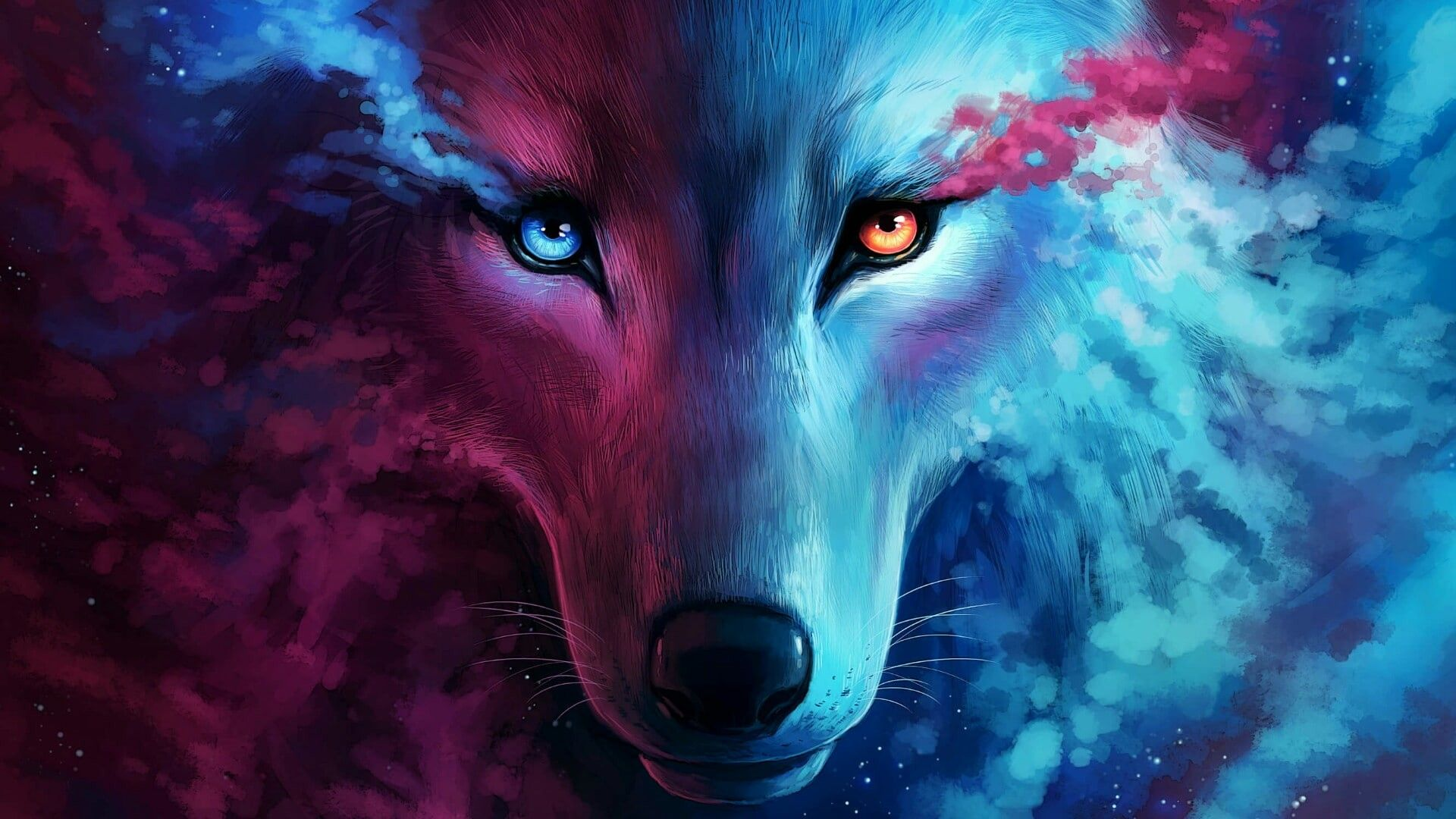 Wolf Pink Blue Orange 1920x1080 Wallpaper Wallhaven Cc In 2020 Wolf Wallpaper Fantasy Wolf Galaxy Wolf