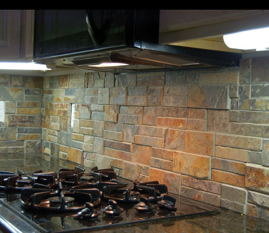 "rustic kitchen back splash using ""terracotta"" stack/ledge stone"