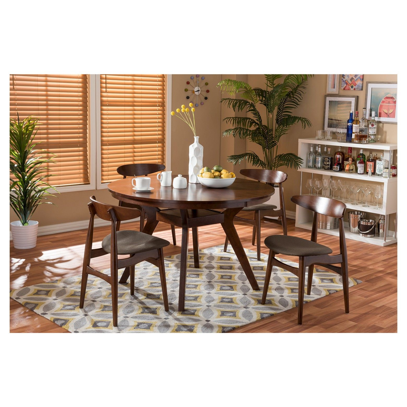 Flamingo Mid Century 5 Piece Dining Set Brown Walnut Gray