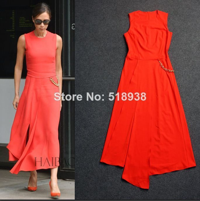 2014 summer new women fashion mid-calf dress brand irregular sleeveless asymmetrical casual dresses vb style  victoria draped $56.00