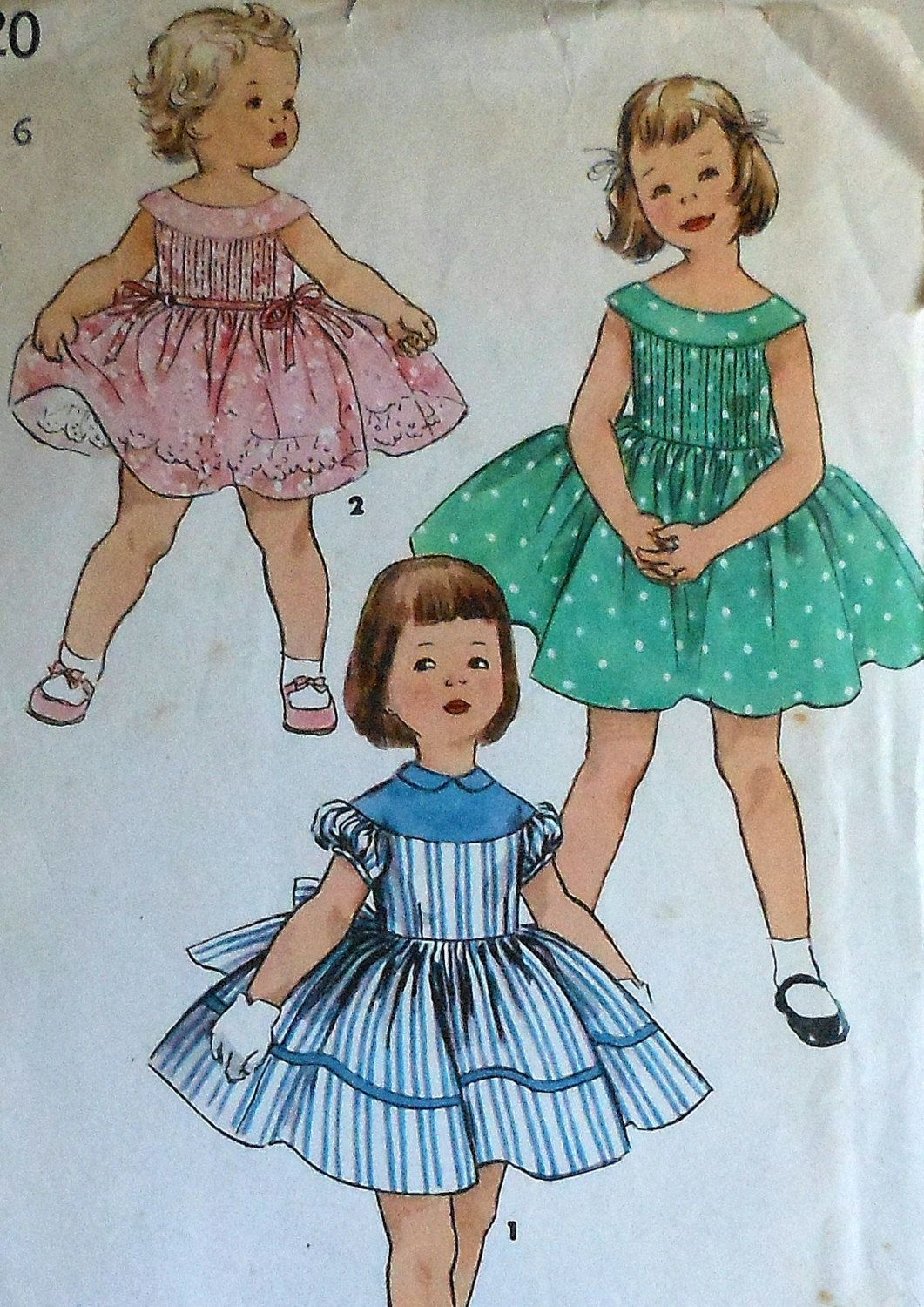 Vintage 50s Little Girls Summer Party Dress Sewing Pattern | Sewing ...