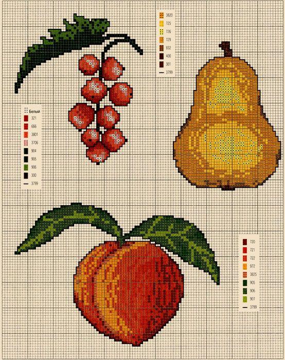 Схемы вышивки плодов