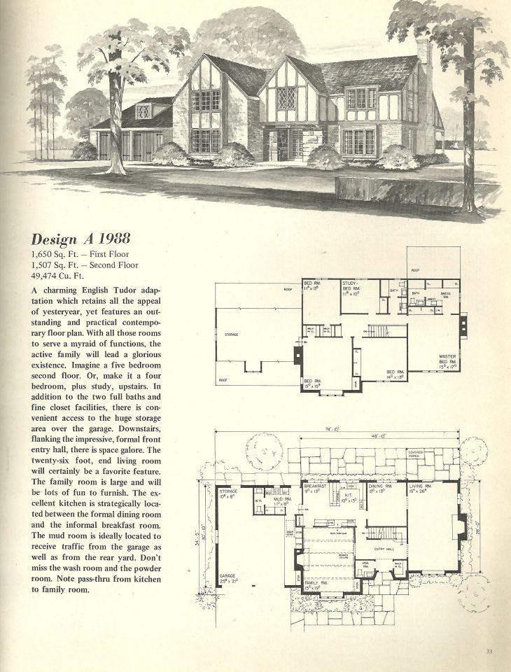 Vintage House Plans 1988 Tudor House Vintage House Plans House Plans