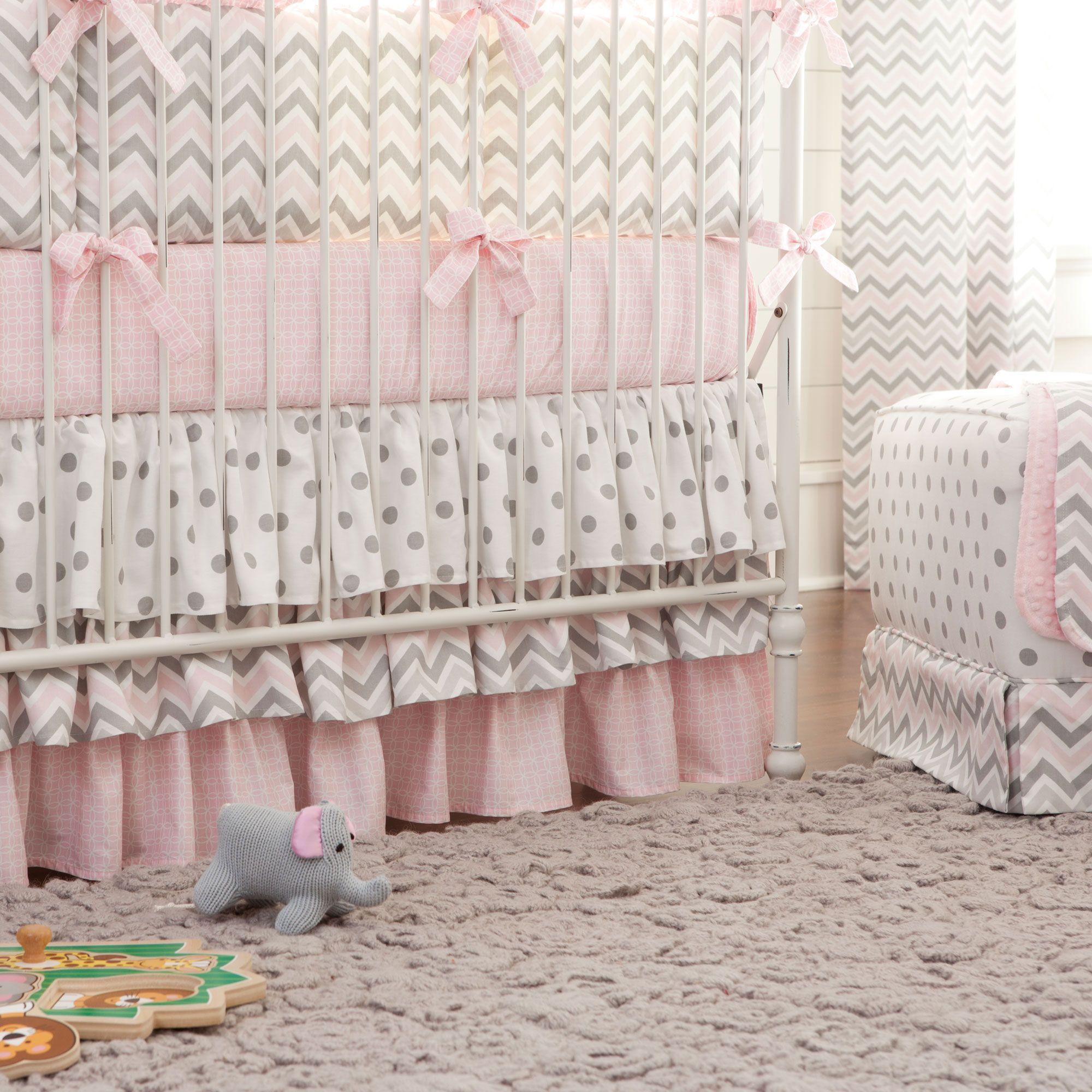 Pink And Gray Chevron Crib Skirt Three Tier With Images Crib