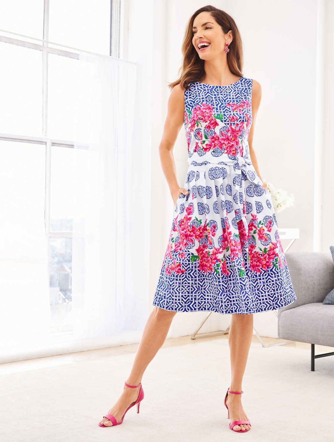 A Beautiful Fit Flare Dress Inspired By The Floral Covered Mosaic Architecture On The Isle Of Capri A Flare Dress Casual Fit Flare Dress Fit And Flare Dress [ 1492 x 1128 Pixel ]