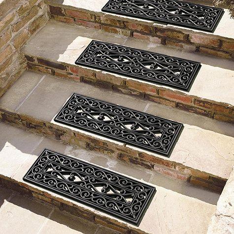 Highgate Doormat Stair Treads Set Of 4 Ballard Designs Stair | Outdoor Wood Stair Treads | Riser | Heavy Timber | Wood Beam | External | Step