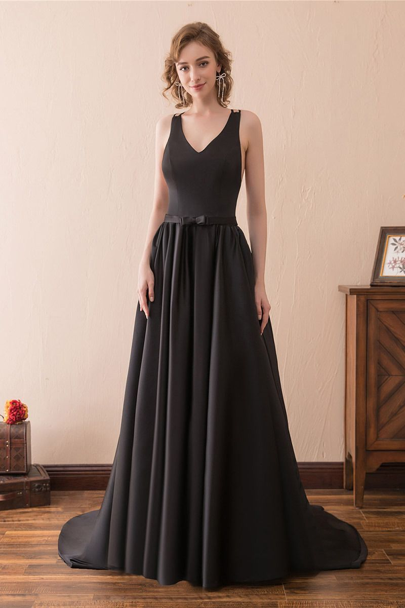 Open back simple black satin long evening dress with train ch