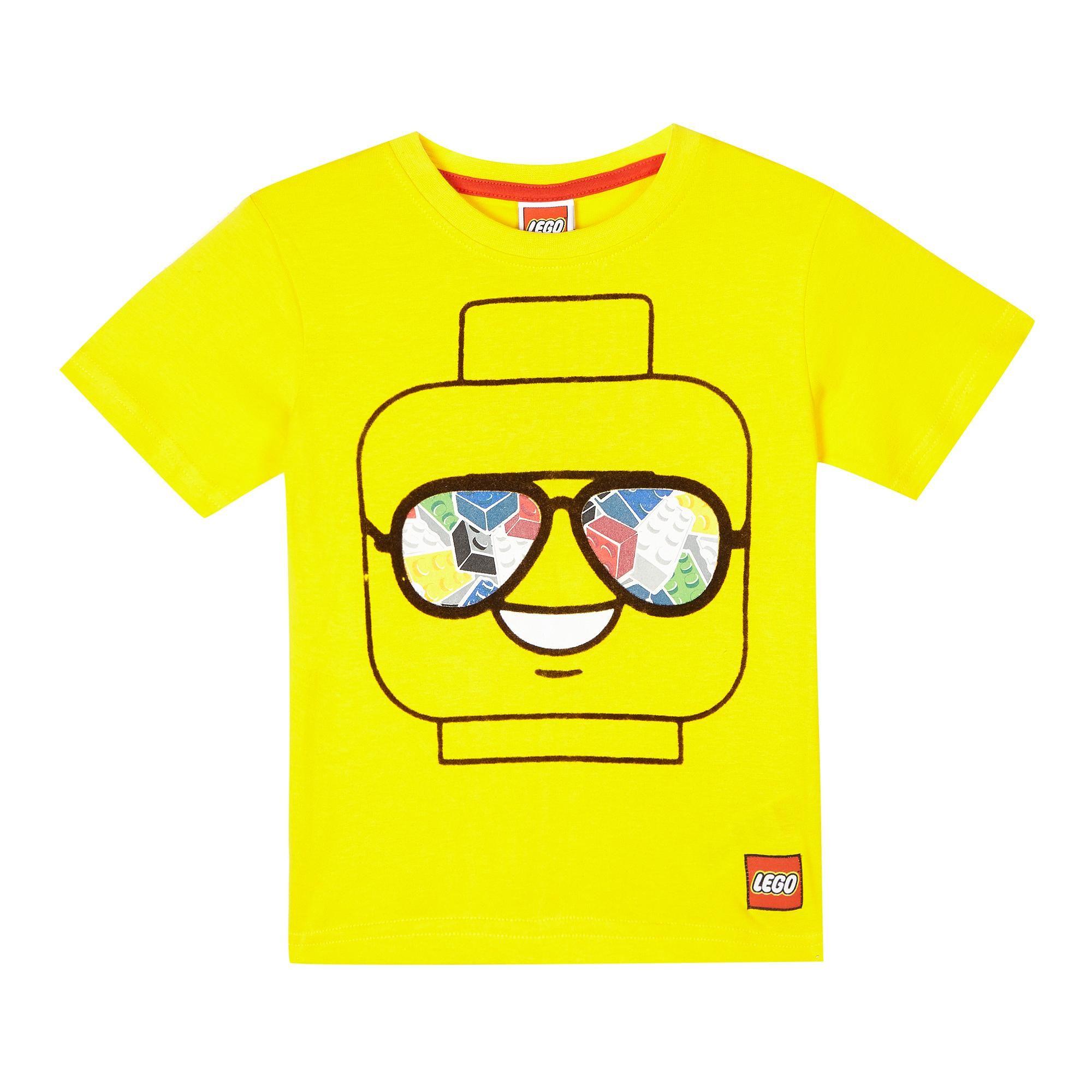 Boys yellow lego print tshirt lego print lego party
