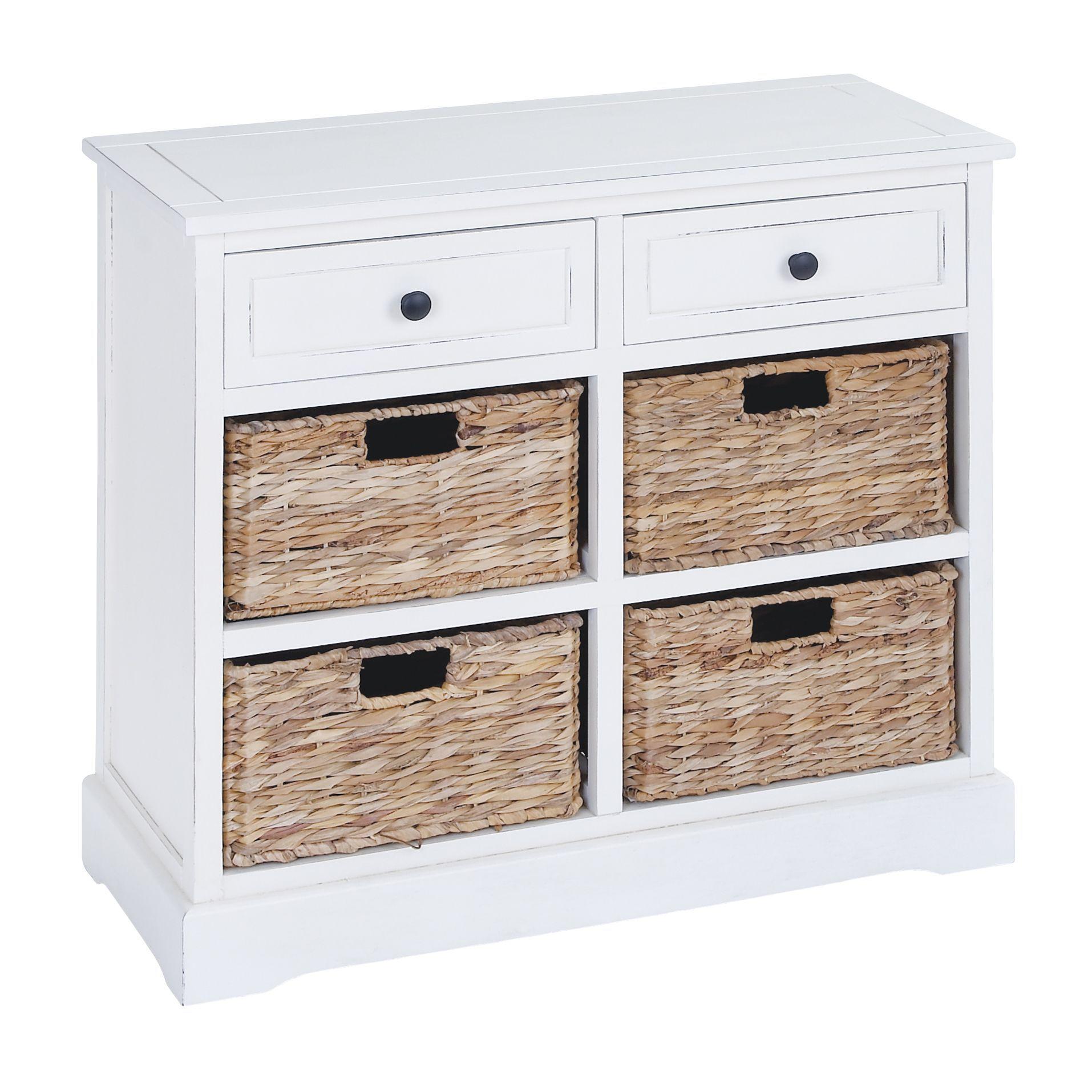 Antique White Wooden 4-Basket Cabinet by Studio 350 | Washroom ...