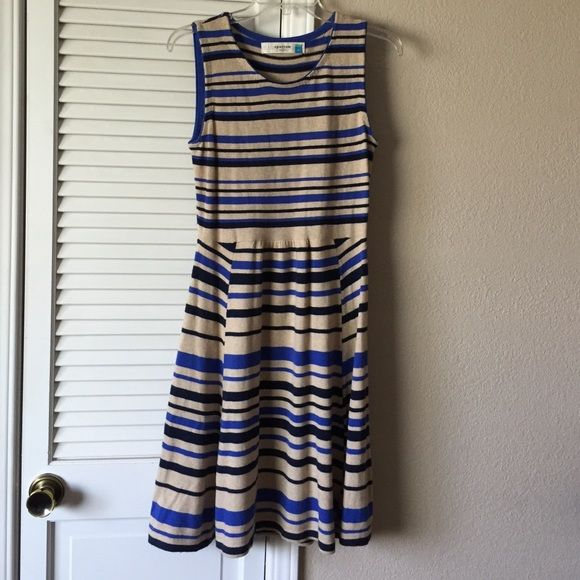 Sparrow striped dress Adorable sweater dress! Viscose/cotton/lambswool/angora/cashmere. Light brown, blue and navy Anthropologie Dresses