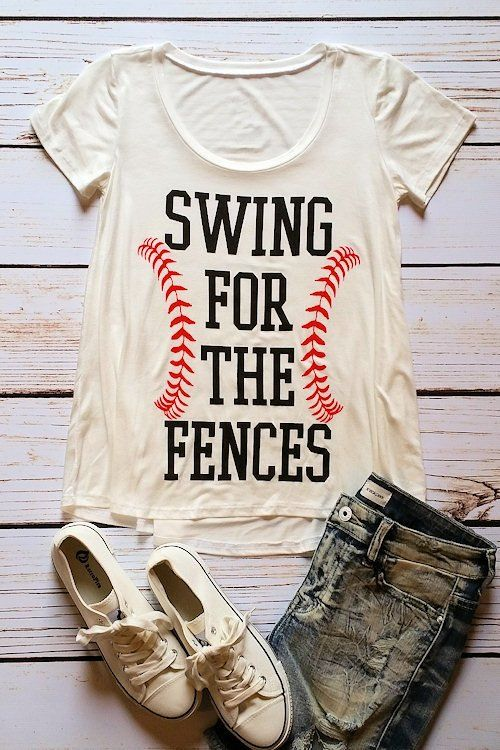 Be ready to cheer on your favorite player in this must-have graphic t-shirt! Soft jersey body with a flair design & the message, 'Swing for the Fences' on front. Sizing Info: Small-fits sizes 0/2/4 Me