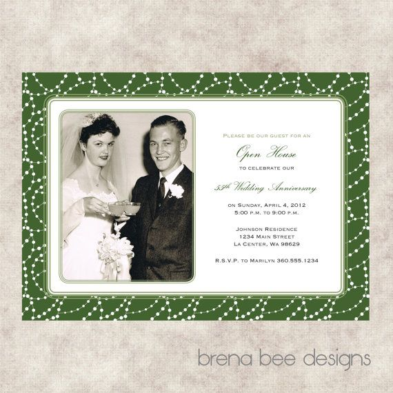 Th Wedding Anniversary Invitation Emerald By Brenabeedesigns