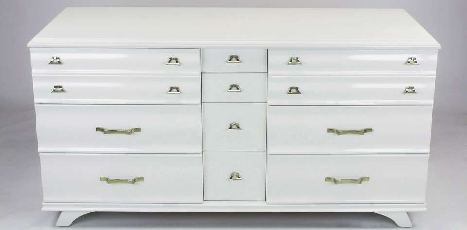 White Lacquer Fluted Front Dresser By Kling Furniture