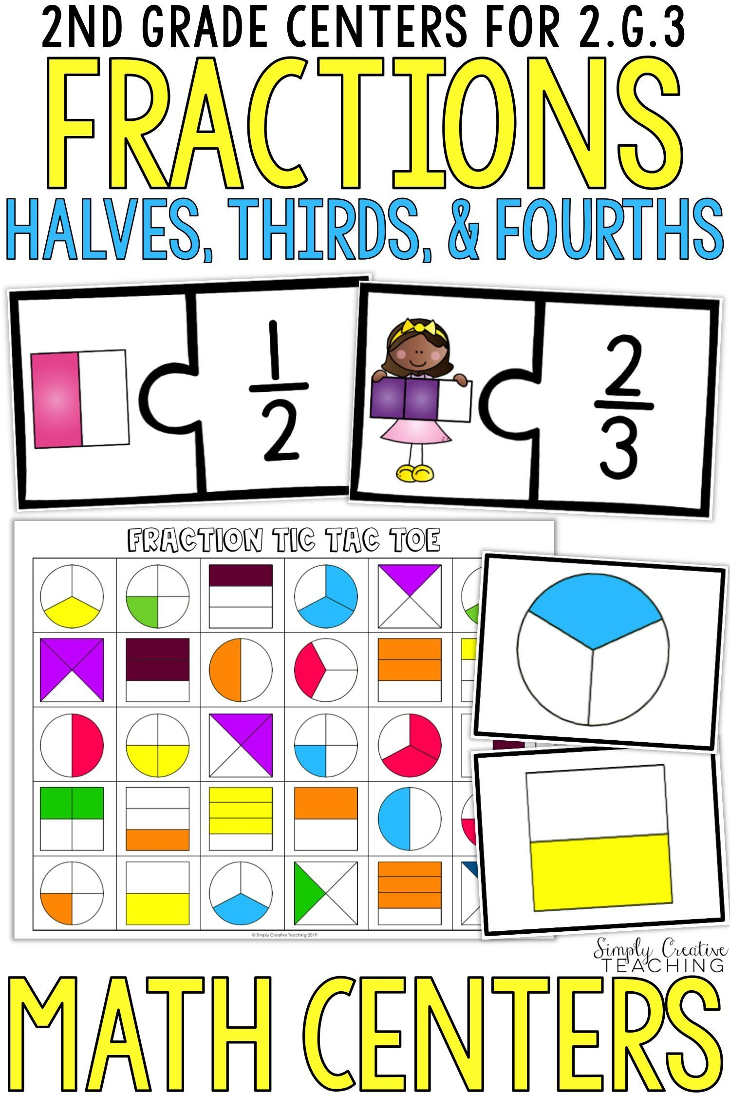 These 2nd Grade Math Centers For Halves Thirds And Fourths Are Great Learning Activities And Worksheets Fo Common Core Math Standards 2nd Grade Creative Math