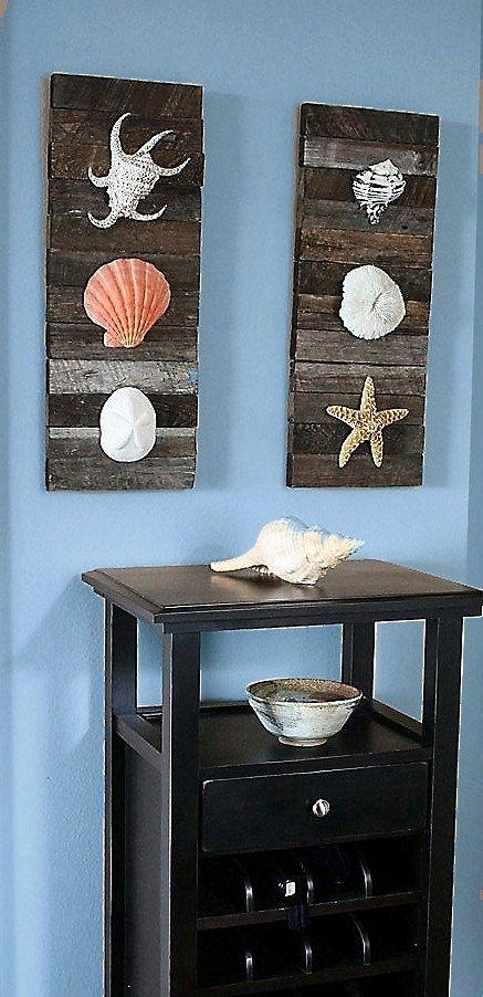 Wall Art Beach Decor Shells On Driftwood For Coastal By