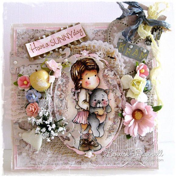 Tilda Card created by LLC DT Member Louise Fraenell, using papers from Maja Design's Vintage Spring Basics Collection.