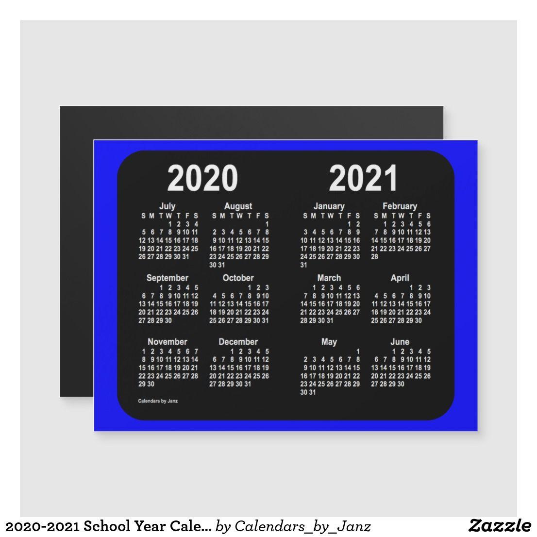 2020 2021 School Year Calendar By Janz Blue Zazzle Com Custom