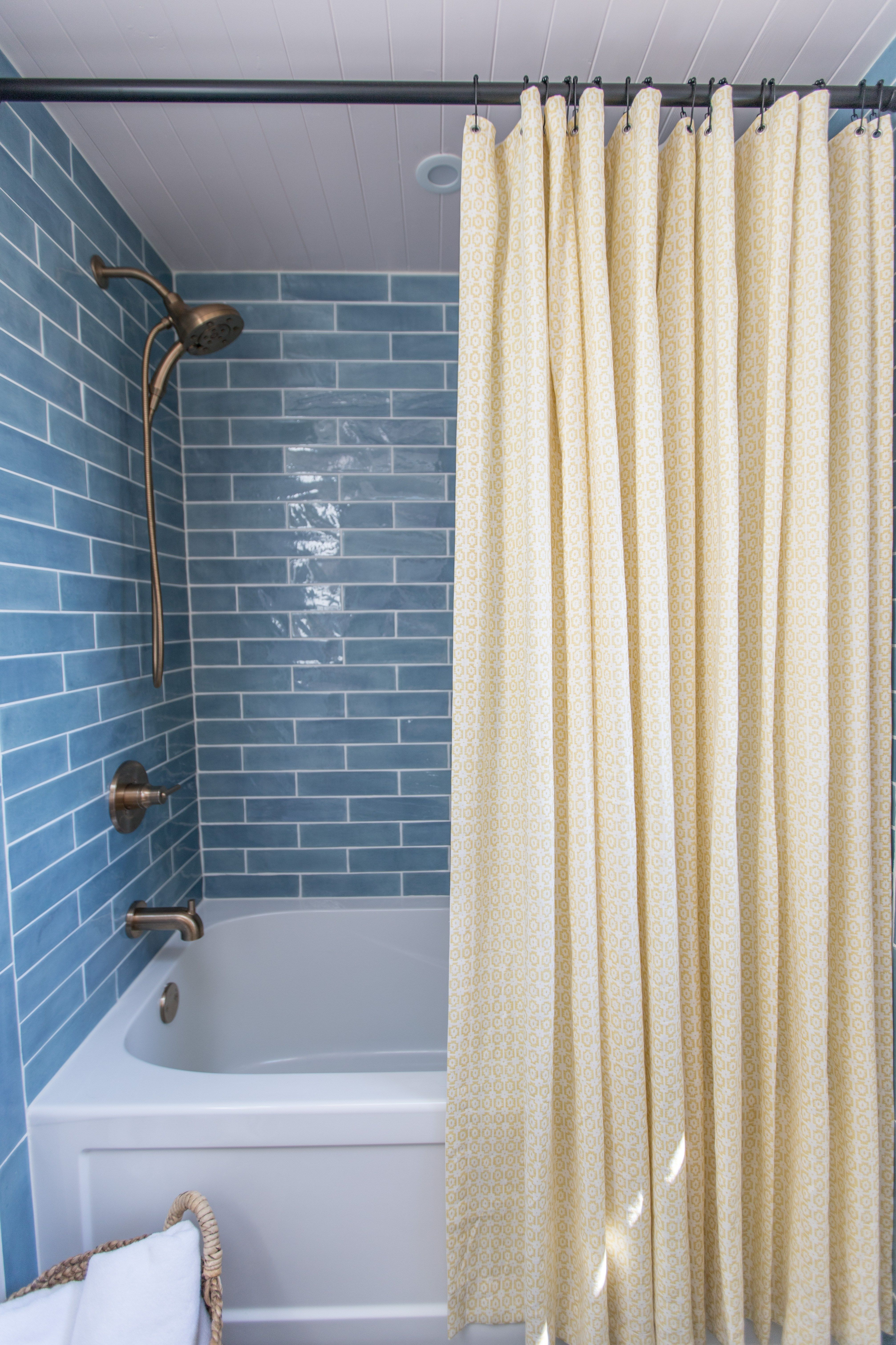 Blue Shower Tile And Custom Shower Curtain Matte Black And Gold