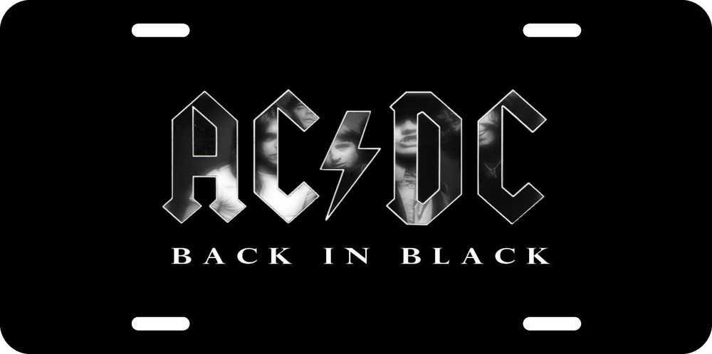 Acdc back in black license plate aluminum auto tag