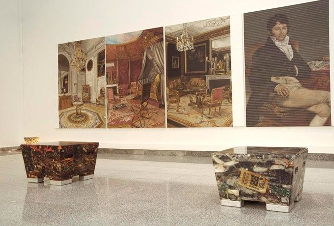 wanna have... (not the paintings. The stools made from electronic waste)