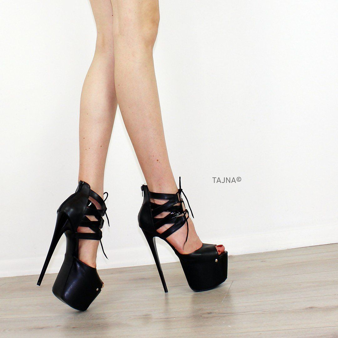04b15650a Ankle Lace Black Lazer Platform Shoes in 2019 | Tajna | Heels, Shoes ...