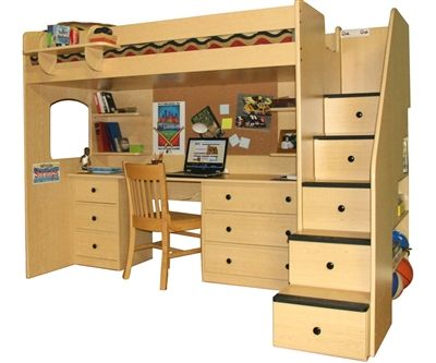 Utica Dorm Loft Bed With Stairs And Desk 23 835 61 Twin And Full