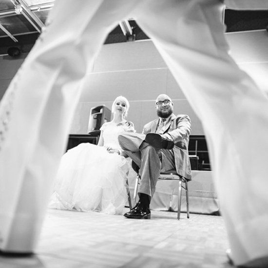 Tattooed couple brings Elvis to town to officiate their awesome DIY wedding!